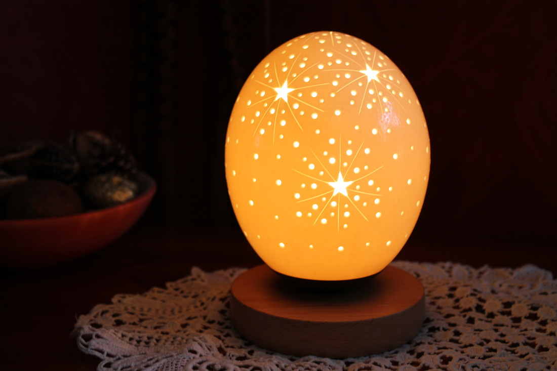 Small Ostrich Egg Lamps - Ostrich Art